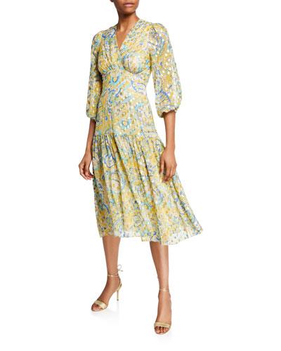 Aceline Printed V-Neck Blouson-Sleeve Midi Dress
