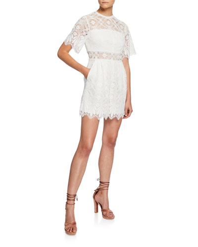 Desse Short-Sleeve Lace Playsuit