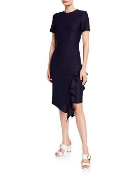 Shoshanna Zola Short-Sleeve Asymmetric Ruffle Dress