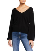 FRAME Sustainable Cashmere-Wool Pointelle V-Neck Sweater