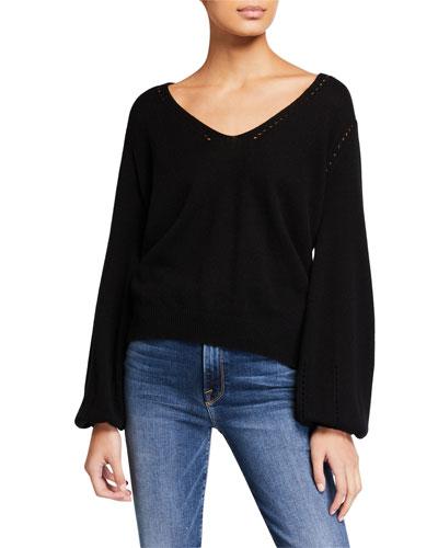 Sustainable Cashmere Pointelle V-Neck Sweater