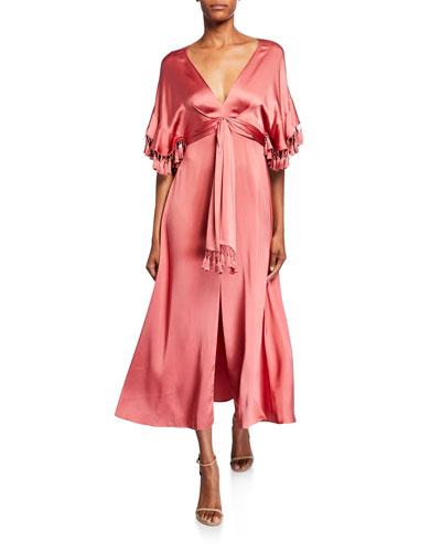 Jenny V-Neck Short-Sleeve Tassel-Trim Dress w/ Slit