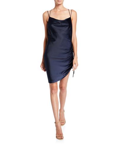 Ivy Ruched Charmeuse Mini Dress