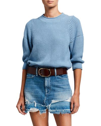Drop-Needle Crewneck Sweater
