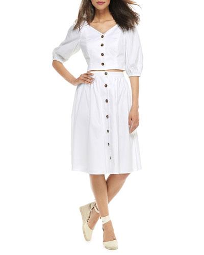 Two-Piece Button-Up A-Line Dress Set w/ Crop Top & Skirt