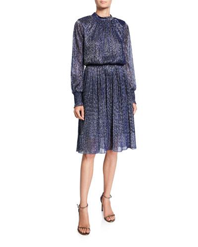 Catherine Metallic High-Neck Bishop-Sleeve Cinched-Waist Dress