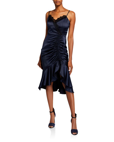 Tianna Ruched Sleeveless Charmeuse Midi Dress with Lace Detail