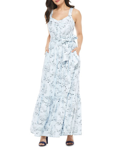 Printed Sleeveless Maxi Dress with Shirred Tier Hem