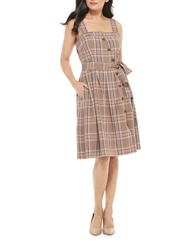 Slanted Button-Up Plaid Dress