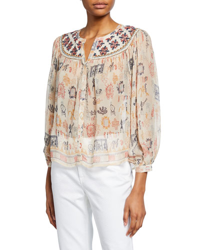 Janae Button-Front 3/4-Sleeve Blouse