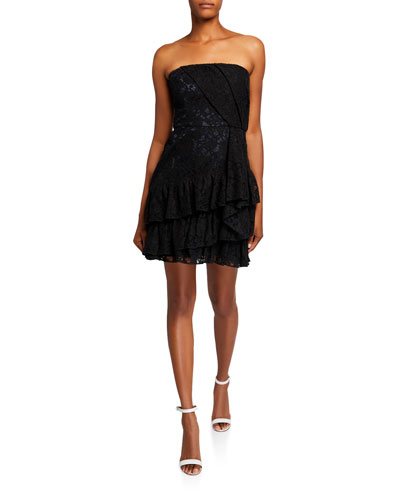 Sinclair Strapless Lace Bustier Mini Dress with Side Ruffle