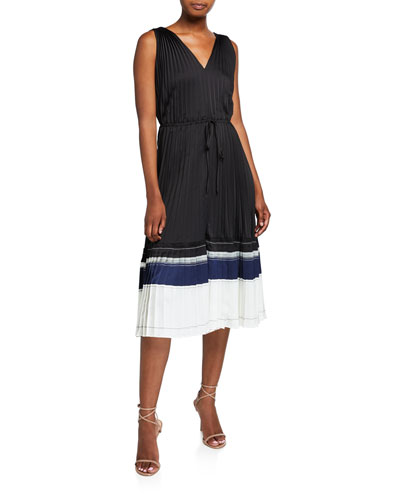 V-Neck Pleated Sleeveless Midi Dress