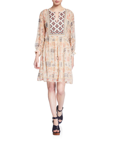 Tawni Printed Split-Neck Viscose Dress