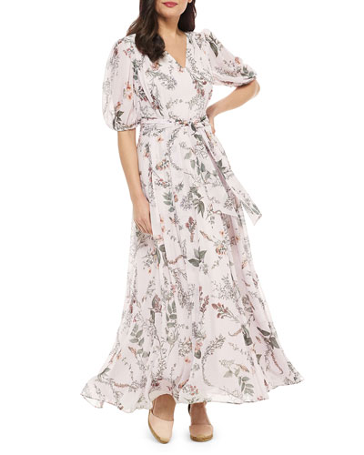 Floral V-Neck Blouson-Sleeve Maxi Dress