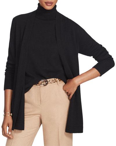 Cashmere Button-Front A-Line Cardigan