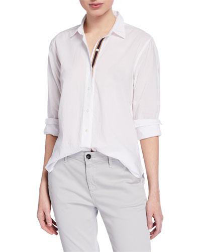 Nina Button-Down Long-Sleeve Cotton Blouse