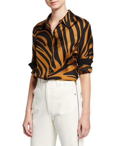 Zebra Print Satin Button-Front Shirt