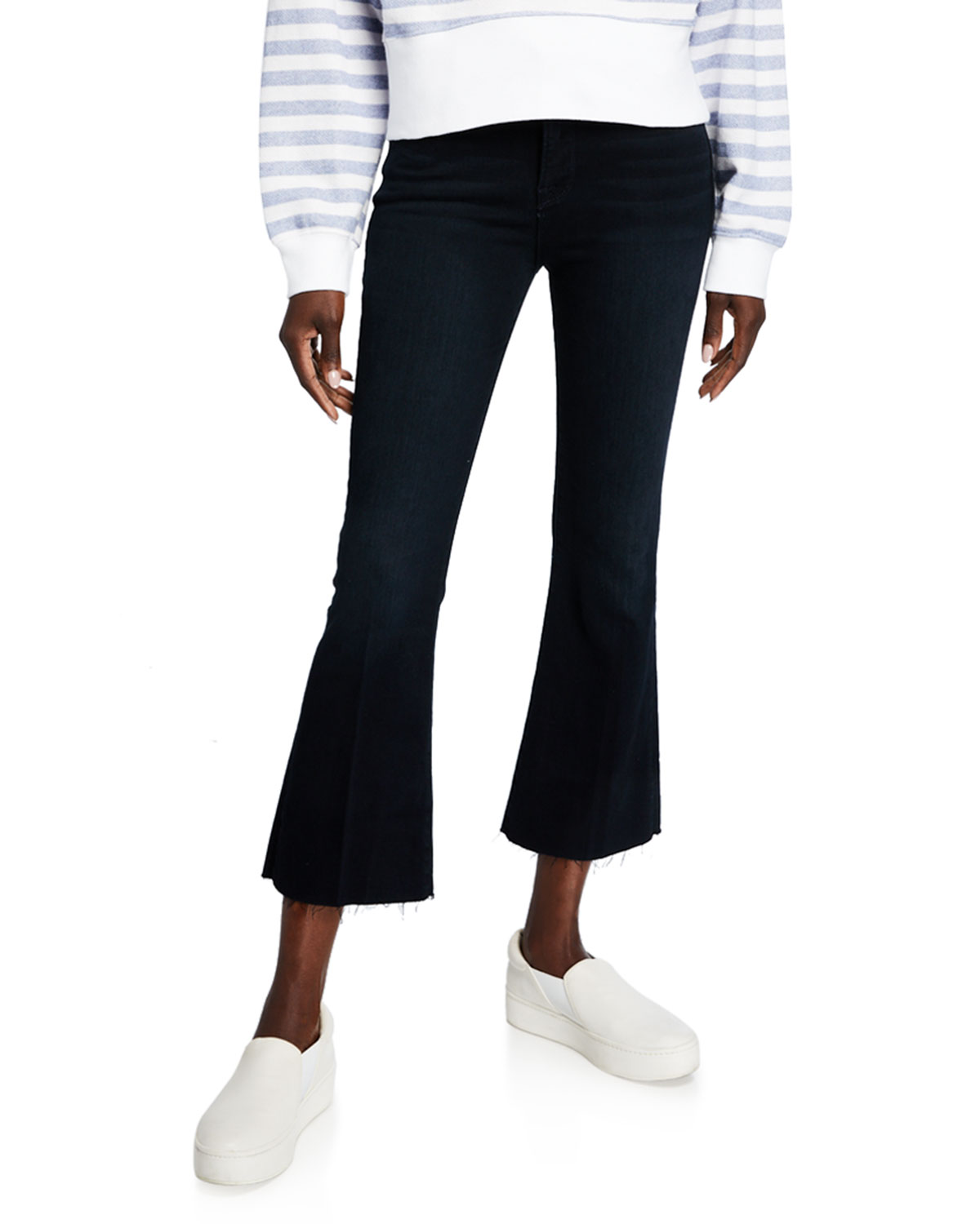 Frame Jeans LE CROP MINI BOOT-CUT JEANS WITH RAW HEM