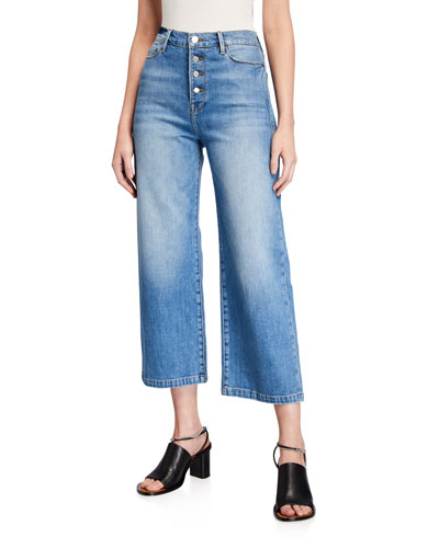 Ali Wide-Leg Crop Jeans with Exposed Buttons
