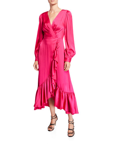 Ruby V-Neck Blouson-Sleeve High-Low Ruffle Dress