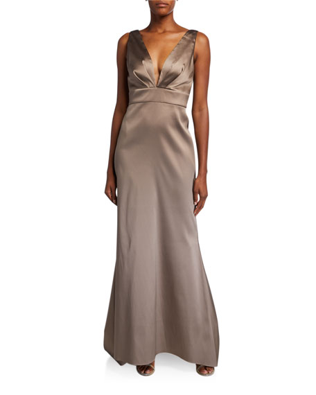 Sachin & Babi Penelope V-Neck Bow Back Sleeveless Gown
