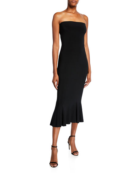 Norma Kamali Strapless Fishtail Midi Dress