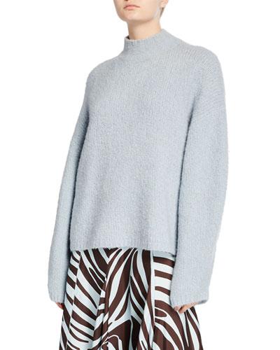 Mock-Neck Drop-Shoulder Pullover Sweater