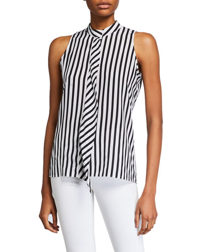 Striped Sleeveless Cravat Top