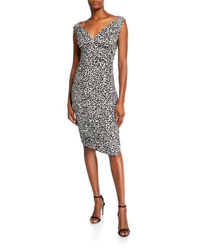 Tara Leopard-Print V-Neck Sleeveless Dress