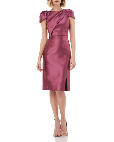 Boat-Neck Pleated Cap-Sleeve Sheath Dress with Slit