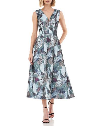 Printed Jacquard V-Neck Sleeveless Midi Fit-&-Flare Dress