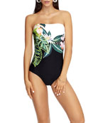 JETS by Jessika Allen Floral-Print Bandeau One-Piece Swimsuit