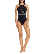 JETS by Jessika Allen High-Neck One-Piece Swimsuit with