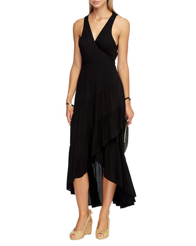 Tiered High-Low Coverup Wrap Dress