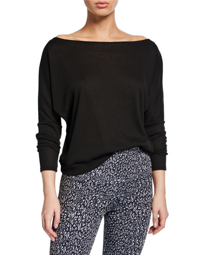 Off-Shoulder Long-Sleeve Rib Top