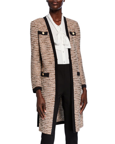 Petite Long Boucle Jacket with Pocket Detail