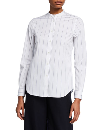 Striped Button-Down Long-Sleeve Poplin Shirt w/ Mandarin Collar