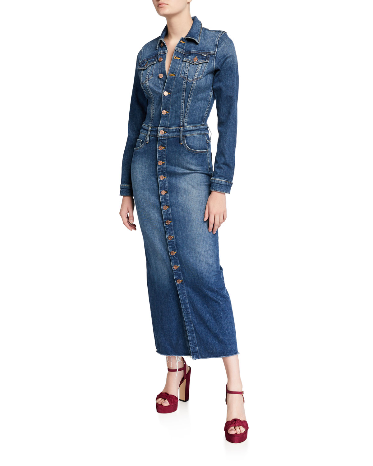 Mother Dresses THE COVER UP BUTTON-FRONT DENIM MAXI DRESS