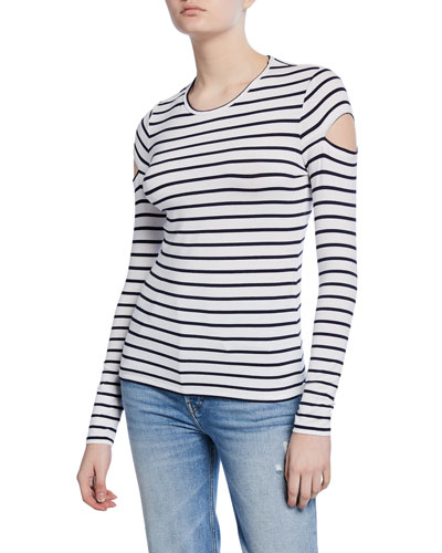 Judith Striped Long-Sleeve Cutout Top