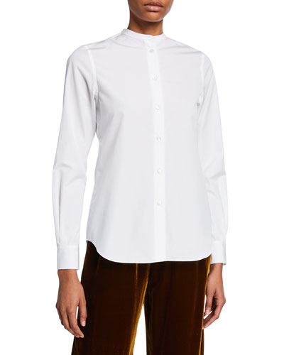 Button-Front Poplin Shirt with Mandarin Collar