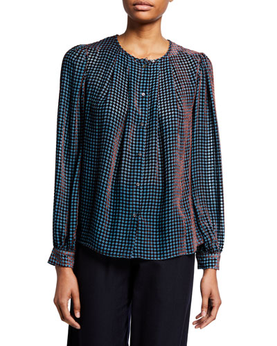 Printed Jewel-Neck Button-Front Long-Sleeve Blouse