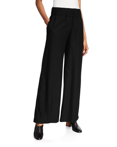 Wool High-Rise Full-Leg Pull-On Pants