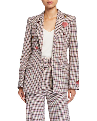 Estelle One-Button Check Blazer with Embroidery