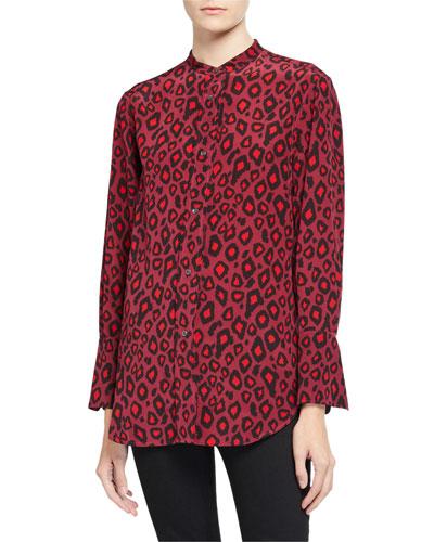 Animal Print Button-Down Mandarin Collar Shirt
