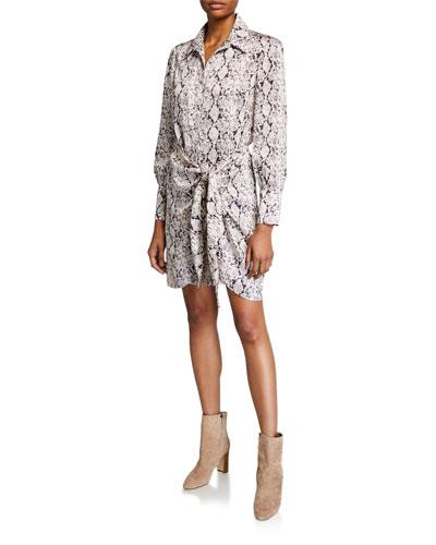 Gaby Tie-Front Snake-Print Shirt Dress