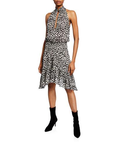 Cody Printed Silk Asymmetrical Dress