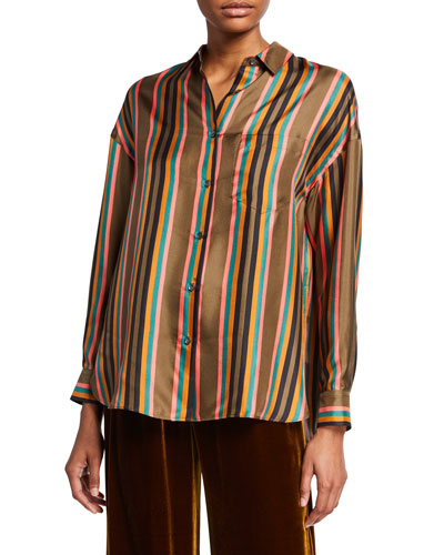 Striped Button-Front Long-Sleeve Silk Twill Shirt