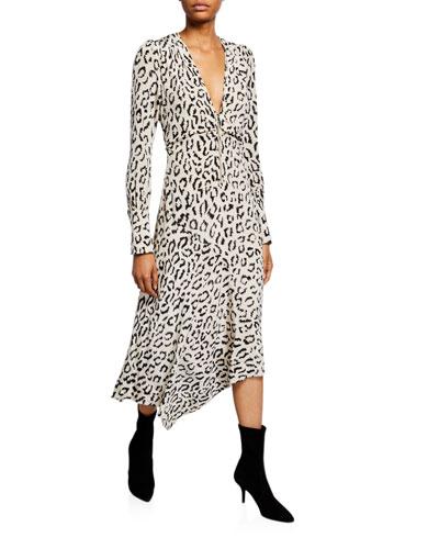 Eden Printed Long-Sleeve Zip-Front Dress