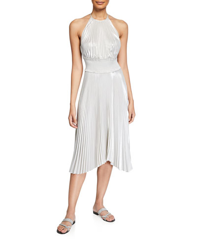 Weston Pleated Metallic Cocktail Dress