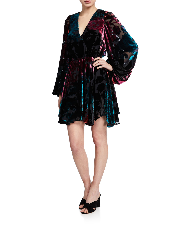 Caroline Constas Dresses OLENA VELVET BLOUSON-SLEEVE DRESS